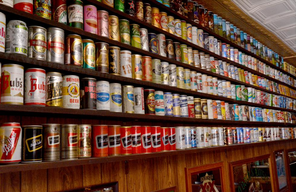 JERREY ROBERTS Beer cans, some of the more than 4,000 displayed at Ye Ol' Watering Hole in Northampton. - JERREY ROBERTS | DAILY HAMPSHIRE GAZETTE