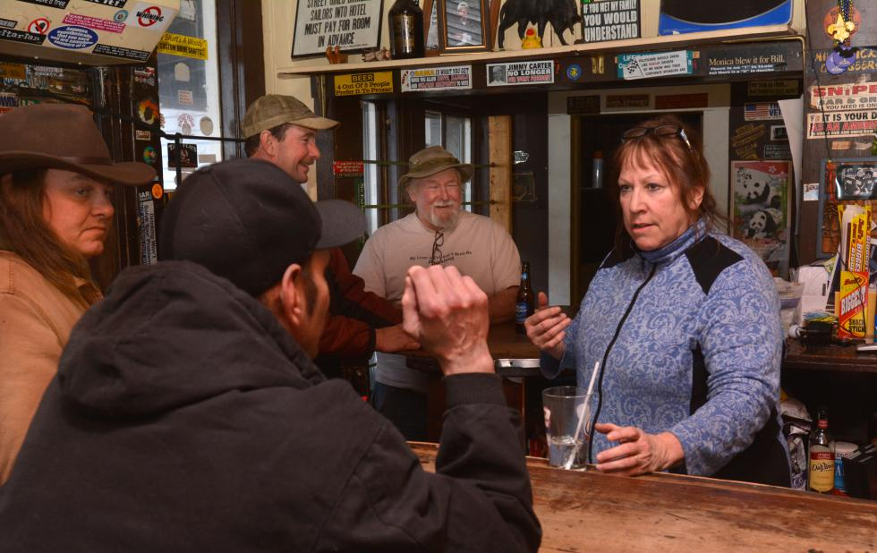 JERREY ROBERTS Betsy Hastings, who is the owner and manager of the Hot L in South Deerfield, talks to customers Thursday. - JERREY ROBERTS | DAILY HAMPSHIRE GAZETTE