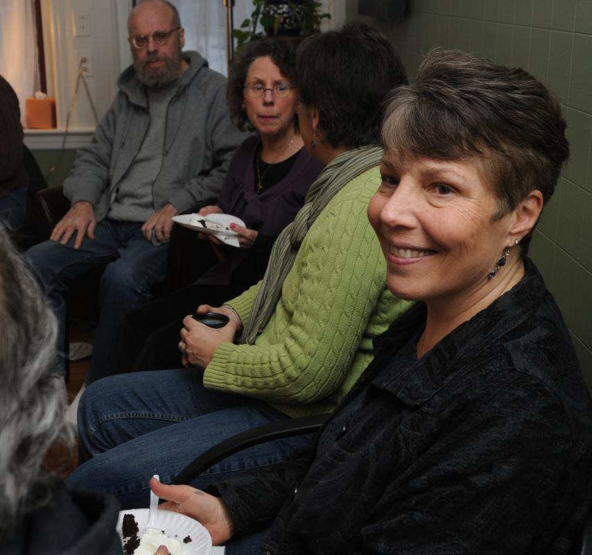 CAROL LOLLIS back left, Alan Tschetter, Karen Banta, Lorana Miceli, and Laura Hummel, at a death cafe in Northampton Sunday afternoon. - Carol Lollis | Daily Hampshire Gazette
