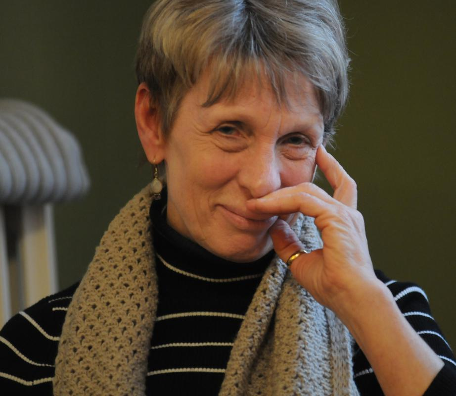 CAROL LOLLIS Carol Rodgers at a Death Cafe held in Northampton Sunday afternoon. - Carol Lollis | Daily Hampshire Gazette