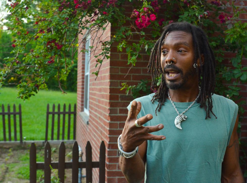JERREY ROBERTS David Andrews, 46, shares his views Monday at his home at Hampshire Heights in Northampton. - JERREY ROBERTS   DAILY HAMPSHIRE GAZETTE