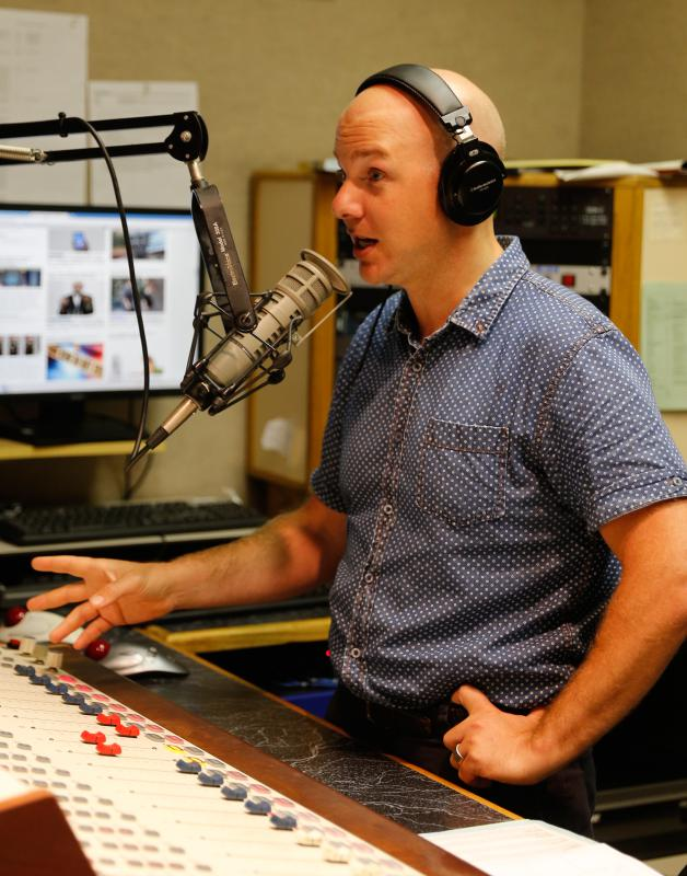 DAN LITTLE WRSI radio personality Monte Belmonte during his show Wednesday morning at the station in Northampton. - DAN LITTLE | DAN LITTLE