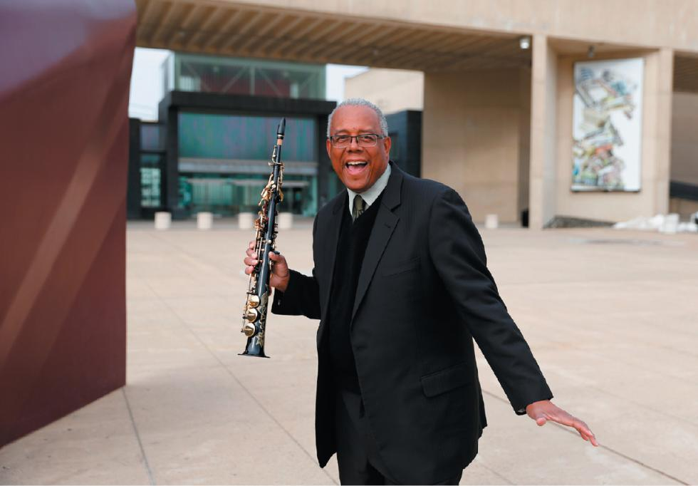 DAN LITTLE Willie L. Hill Jr., director of the UMass Fine Arts Center and a professor in music education, poses for a portrait with his soprano saxophone Tuesday at the FAC in Amherst. - DAN LITTLE | DAN LITTLE