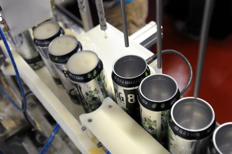 KEVIN GUTTING Detail of beer canning line at BLDG 8 Brewing in Florence. - KEVIN GUTTING | DAILY HAMPSHIRE GAZETTE