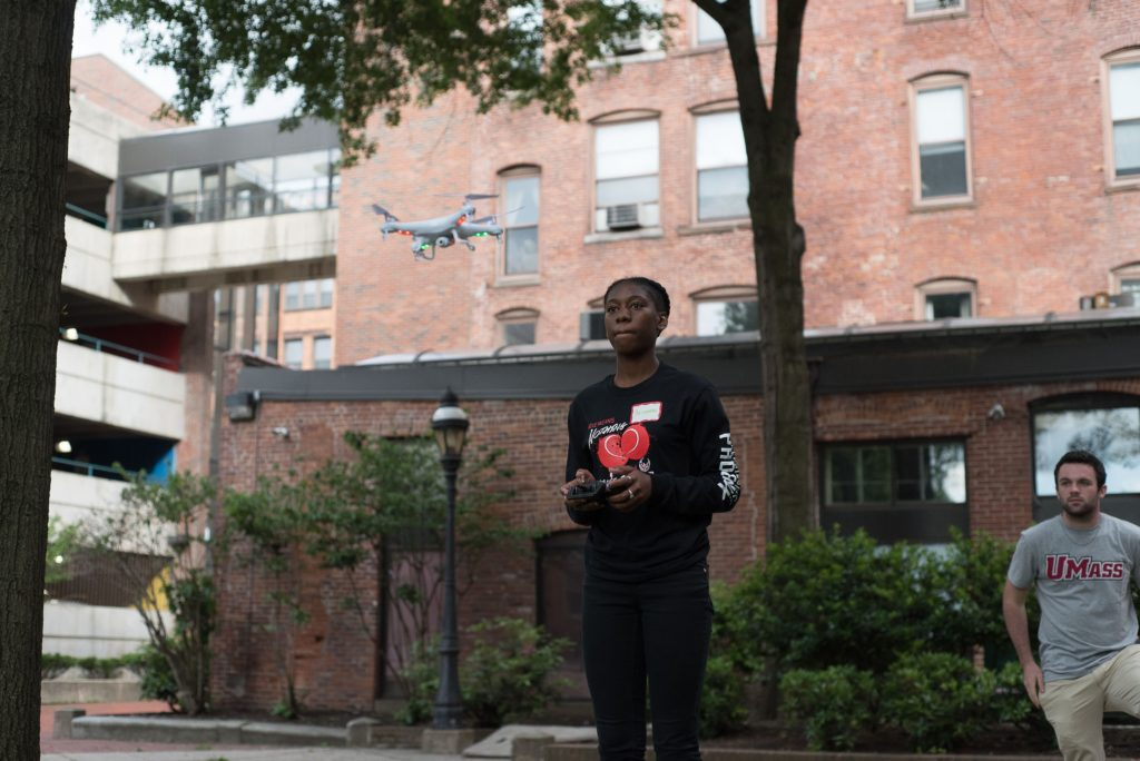 Briyanna Henry, 16, learns how to operate a UAV.