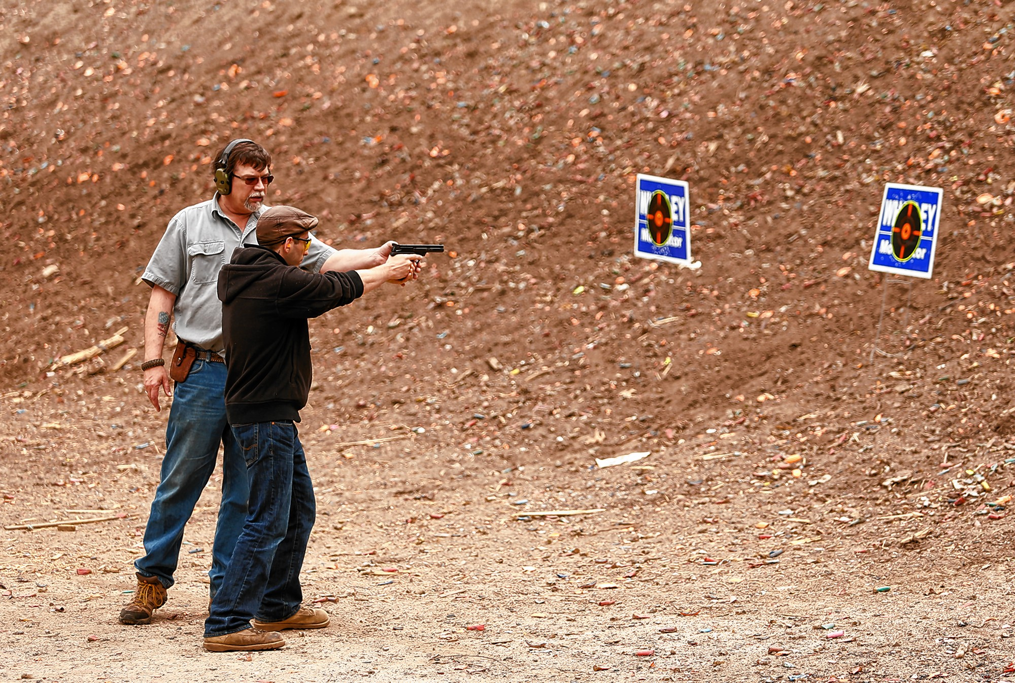 Kirk Whatley, left, instructs a group firearms training class Saturday at Norwottuck Fish and Game in Amherst.