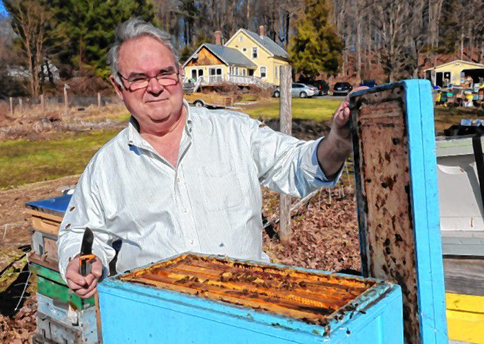Gazettenet File PhotoDan Conlon of Warm Color Apiary in Deerfield opens one of his hives.