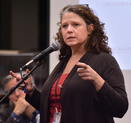 Amherst School Superintendent Maria Geryk speaks during the fourth forum on reconfiguring the Amherst elementary schools. Jerrey Roberts Photo.