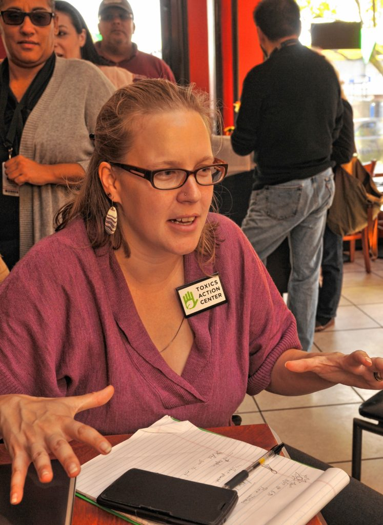 Claire B.W Miller talks about the Holyoke Solar farm during a celebration  at Fiesta Cafe.