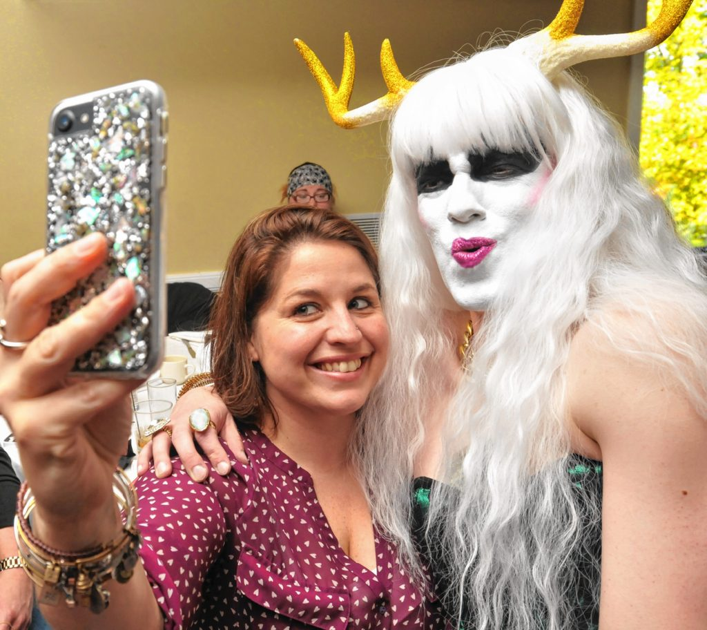 Hors D'oeuvres takes a picture with Amanda Stebbins at Drag Brunch at Slainte in Holyoke. Carol Lollis photo.
