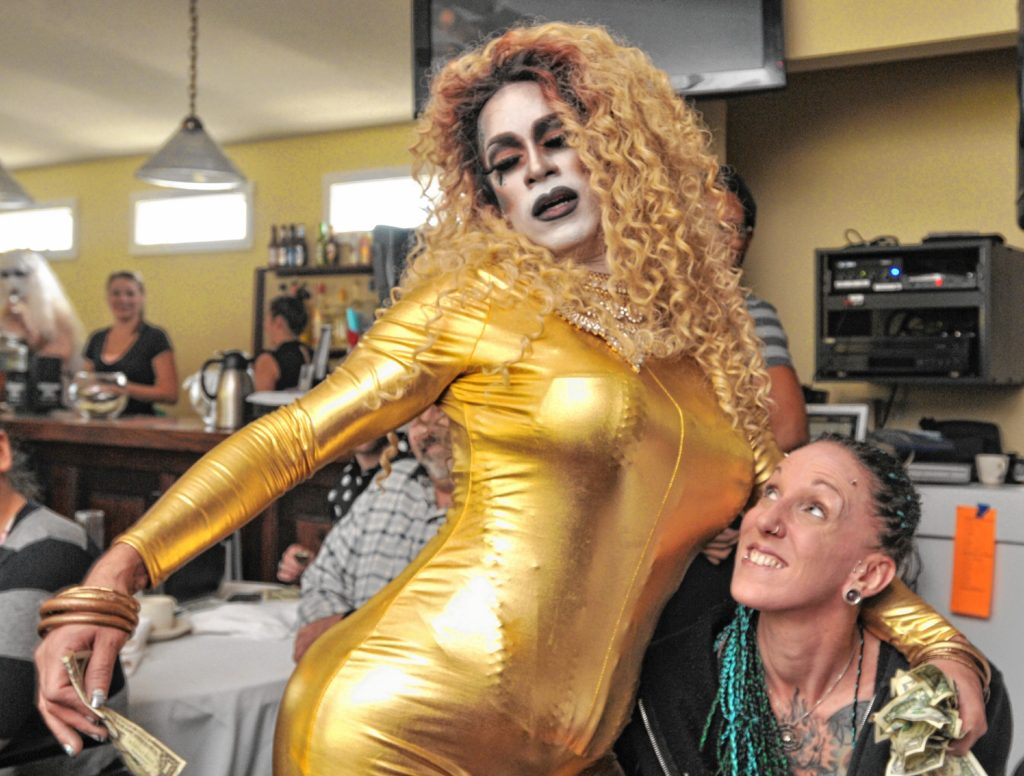 Ruby Monroe performs at a drag brunch at Slainte in Holyoke. Carol Lollis photo.