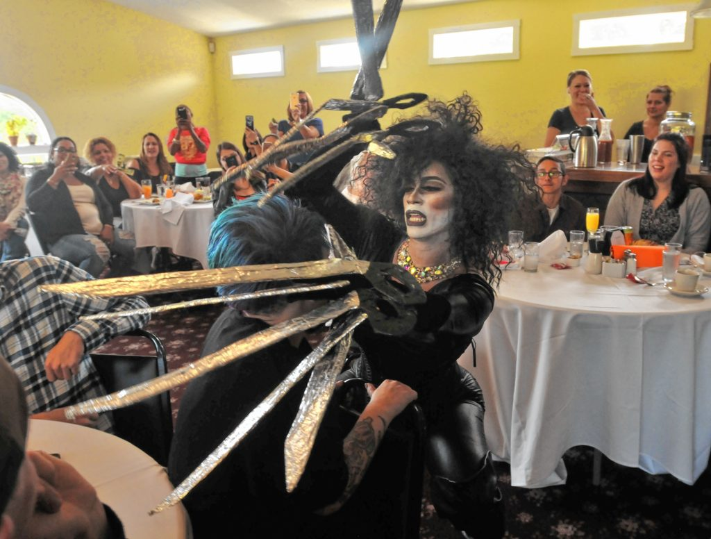 Ruby Monroe as Edward Scissorhands performs at Drag Brunch at Slainte in Holyoke. Carol Lollis photo.
