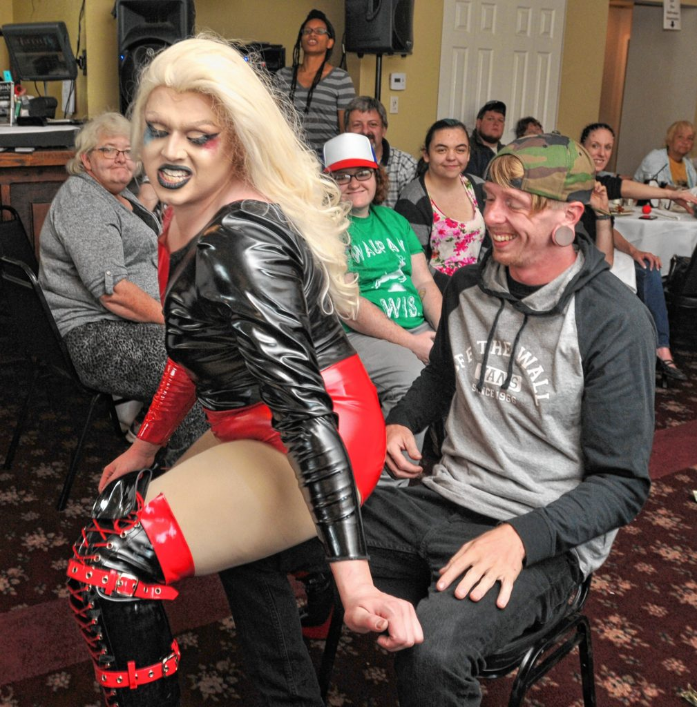 Ivanna dances all up on Jake Hathaway at Drag Brunch at Slainte in Holyoke. Carol Lollis photo.