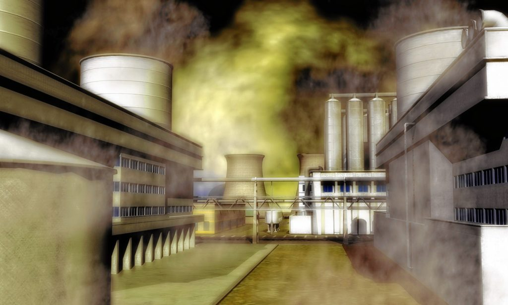 kristin palpiniDigital Illustration of a Surreal Industrial Area