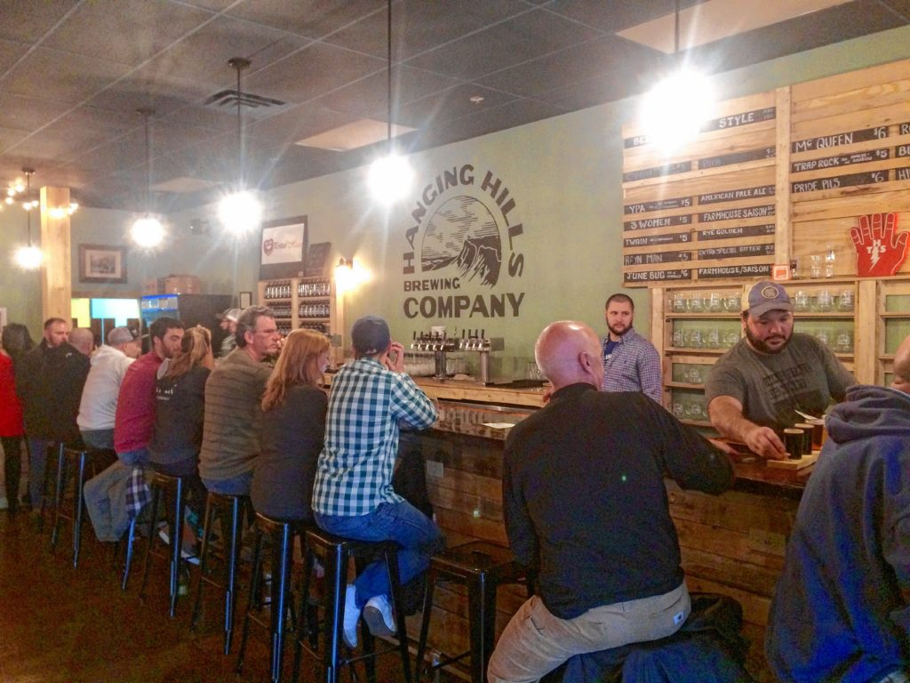 Tasting room at Hanging Hills Brewing. Hunter Styles photo.