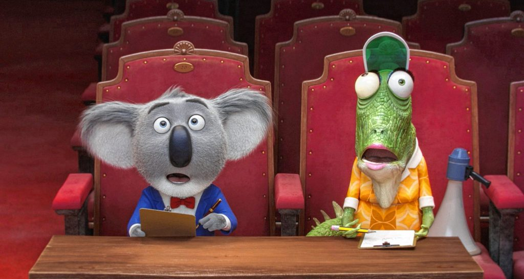 Academy Award� winner MATTHEW MCCONAUGHEY stars as dapper Koala Buster Moon and director GARTH JENNINGS voices elderly lizard Miss Crawly in Sing, a musical comedy about finding the shining star that lives inside all of us. Credit: Illumination Entertainment and Universal Pictures