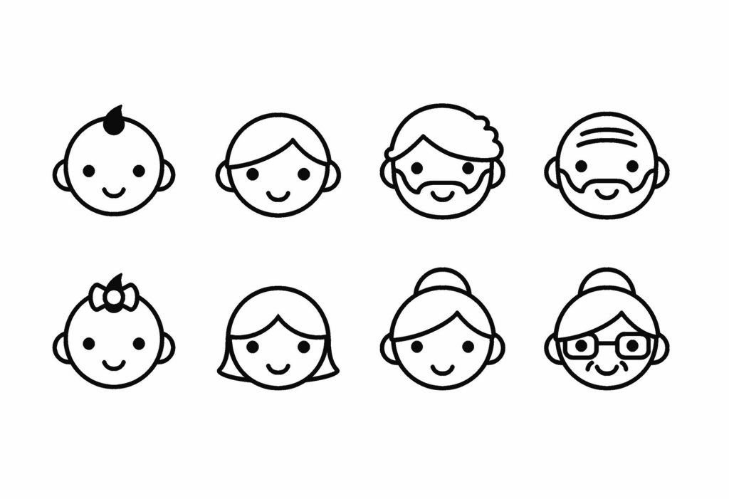 People ages icons, male and female, from young to old. Cute and simple line con set.