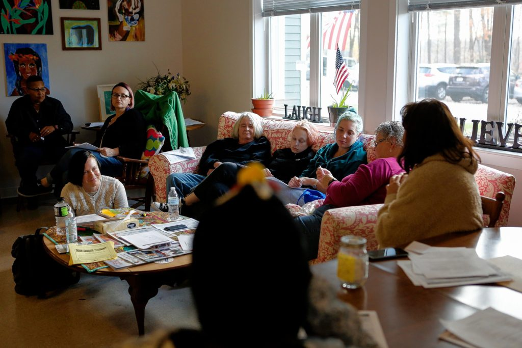 Women who live in Soldier On's transitional housing for female veterans on the Veterans Affairs campus in Leeds participate in a house meeting on Nov. 3, 2016.