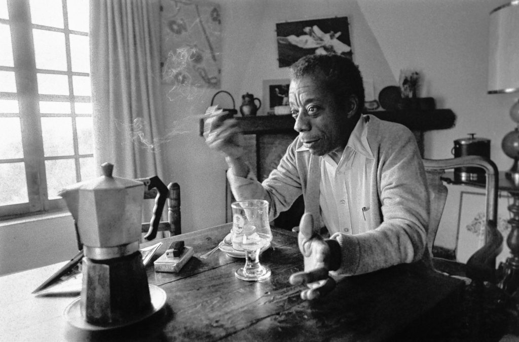 American novelist, writer, playwright, poet, essayist and civil rights activist James Baldwin poses at his home in Saint-Paul-de-Vence, southern France, on November 6, 1979.  AFP PHOTO RALPH GATTI (Photo credit should read RALPH GATTI/AFP/Getty Images)