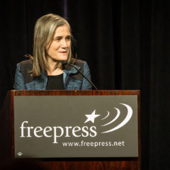 Democracy Now! host Amy Goodman speaks today at Mount Holyoke