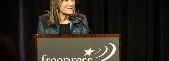 Democracy Now! host Amy Goodman speaks today at Mount Holyoke