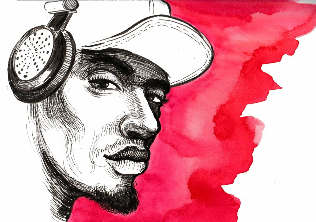Ink sketch of a cool black american man in headphones