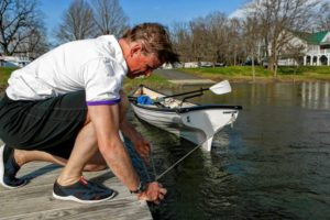 Jim Brassord of Amherst unties his Little River Heritage 18 rowing skiff from the dock April 11, 2017 at the Sportsman's Marina in Hadley. Brassord plans to row from Miami, Fla., to New York City as a fundraising initiative for the John P. Musante Health Center, which will be opening in downtown Amherst in the fall to provide primary medical and dental care to underserved populations, regardless of their ability to pay.