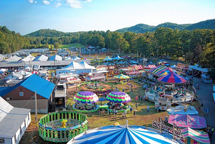 A view from on top of the ferris wheel during the Cummington Fair Friday, August 26, in Cummington.