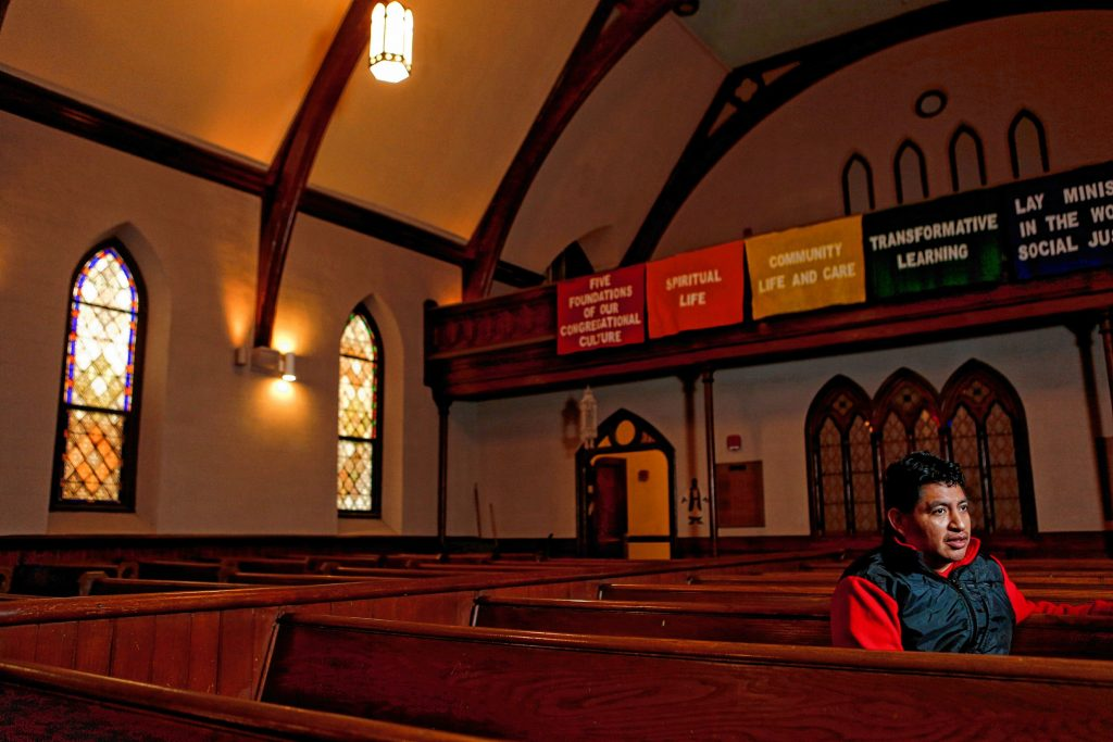 Lucio Perez of Springfield, an undocumented Guatemalan immigrant who is facing deportation, resides Nov. 2, 2017 at the First Congregational Church of Amherst, which is providing him sanctuary while he waits for his case to be reopened after Immigration and Customs Enforcement denied his stay of removal.