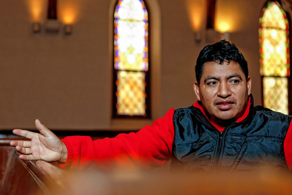 Lucio Perez of Springfield, an undocumented Guatemalan immigrant who is facing deportation, shares his story Nov. 2, 2017 at the First Congregational Church of Amherst, which is providing him sanctuary while he waits for his case to be reopened after Immigration and Customs Enforcement denied his stay of removal.