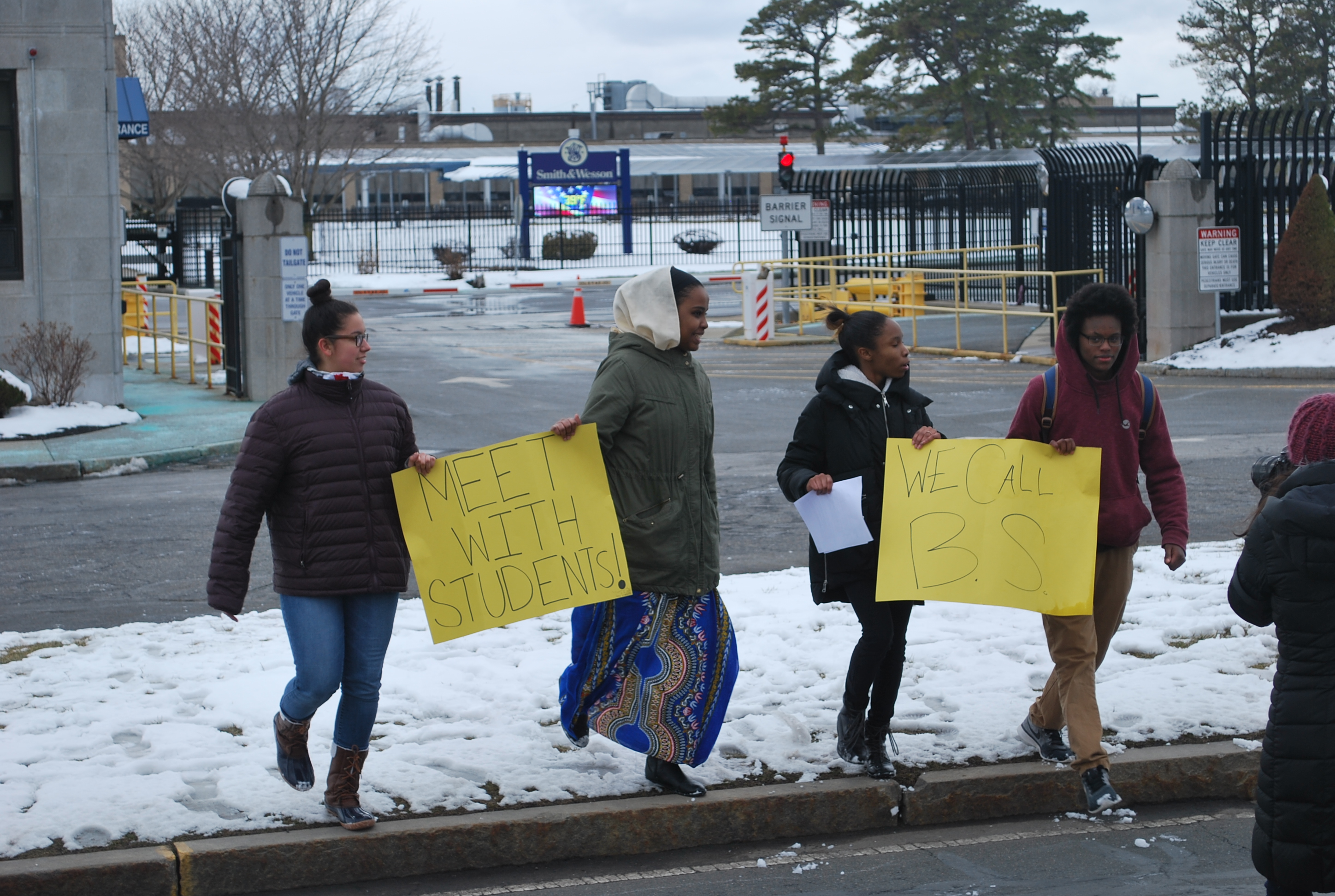 Amid school walkouts protesters in springfield demand meeting about students from springfield and boston delivered a message to meet with smith wessons ceo to security officers photo by chris goudreau fandeluxe Images