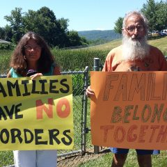 Parents bring their small children to rally at Greenfield jail and ICE facility opposing family separation practices