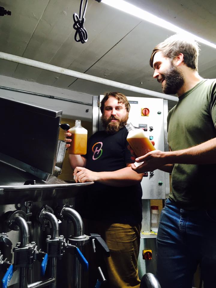 Danny Sump, the new head brewer at Bright Ideas Brewing in North Adams, collaborates with Christophe Gagné from Hermit Thrush Brewing in Brattleboro on a sour IPA for the Bright Ideas taproom.