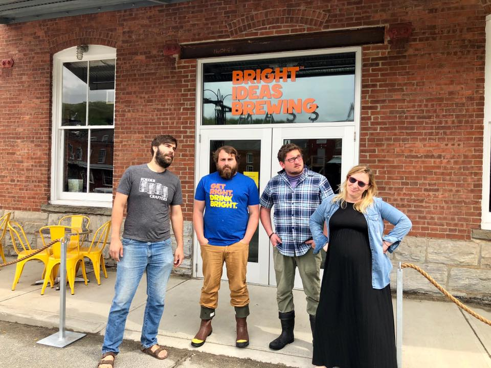 From left: Visiting brewer Christophe Gagné from Hermit Thrush Brewery, Bright Ideas head brewer Danny Sump, Bright Ideas assistant brewer Connor Mackenzie Johnson, and Bright Ideas operations manager Colleen Rafferty.