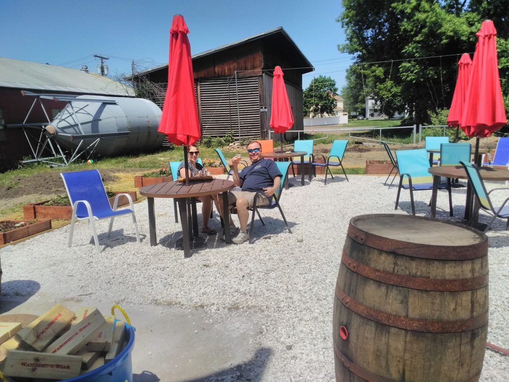 Visitors at the new beer garden at Wandering Star Craft Brewery in Pittsfield. The taproom is now open on Sundays as well as Saturdays.