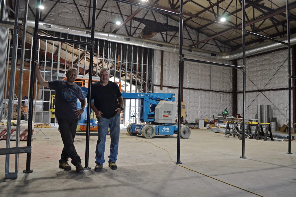 Leadfoot co-founders Pat Randall (left) and Jeff Thibodeau at their new space in Chicopee. Hunter Styles photo.