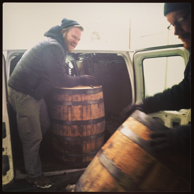 Sean Nolan (left) and Jay Sullivan, co-owners of Honest Weight Artisan Beer in Orange, received their first bourbon barrels in 2015. Instagram photo.