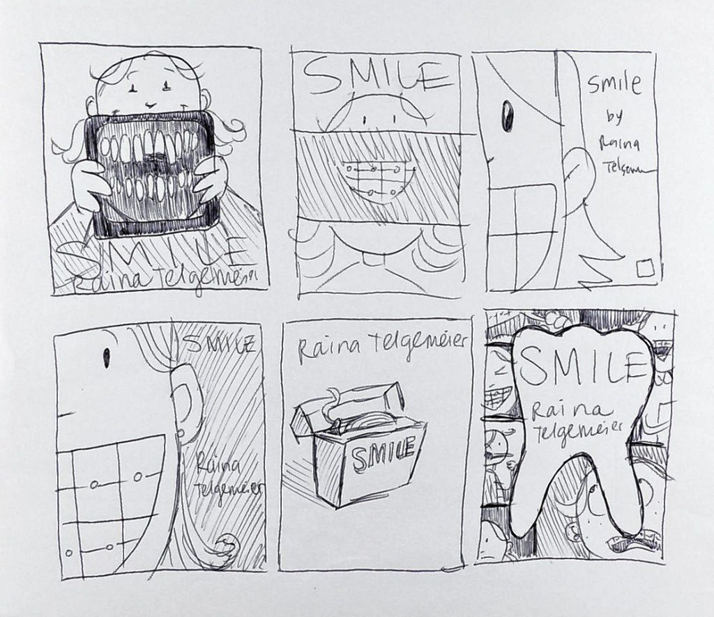 "Raina Telgemeier's thumb nail illustration for ""Smile."""
