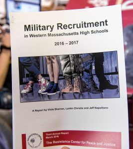 Military Recruitment in Western Massachusetts High Schools 2016-2017, a report by The Resistance Center for Peace and Justice, in Northampton. Photographed on Thursday, March 21, 2019.