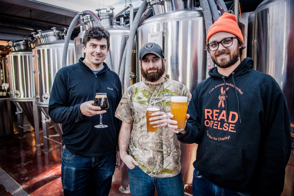 From left: Shire Breu-Hous owner/brewer Andrew Crane, brewer Mark Geibel, and owner/brewer Nick Whalen. Photo by Nick Whalen.