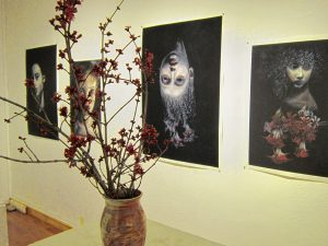 """A snapshot of """"Lost Girls"""" at a gallery at Leverett Crafts & Arts."""