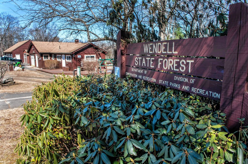The Wendell State Forest park office and main entrance on Montague Road in Wendell on Thursday, April 4, 2019.