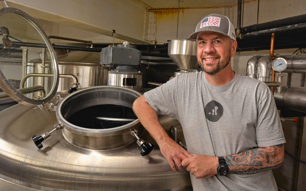 Todd Sullivan, who is the head brewer at Progression Brewing Company in Northampton, in the brewing room, Tuesday, May 28, 2019.