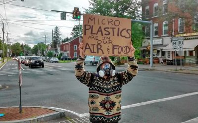 Microplastics inspire one-man protest (with gas mask) in Easthampton