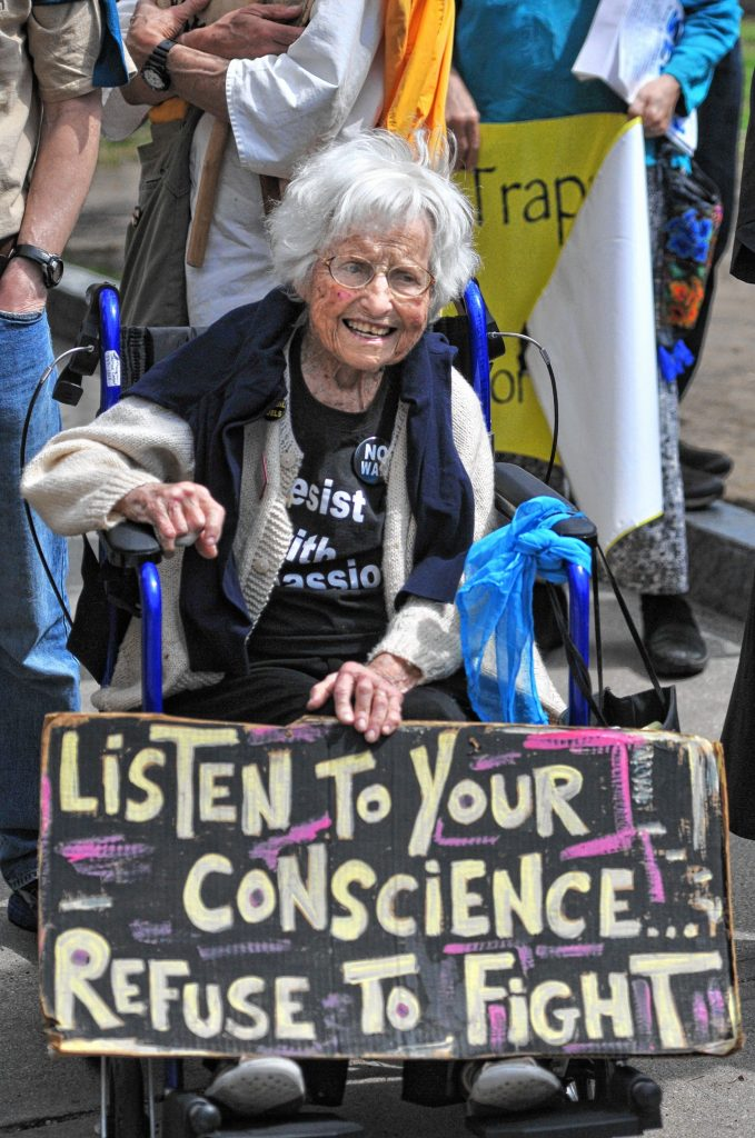 Frances Crowe during a anti war rally in Northampton in April 2017.