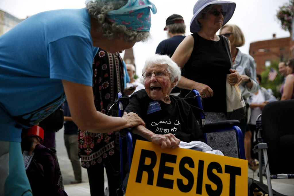 Sally Stuffin of Wendell, left, greets legendary peace activist Frances Crowe July 14, 2018 during a gathering to witness U.S. Rep. Jim McGovern D-Worcester become the first voting member of Congress to sign two historic pledges that support the abolition of nuclear weapons. Some area candidates also signed the Candidate Pledge for a Nuclear Free Future.