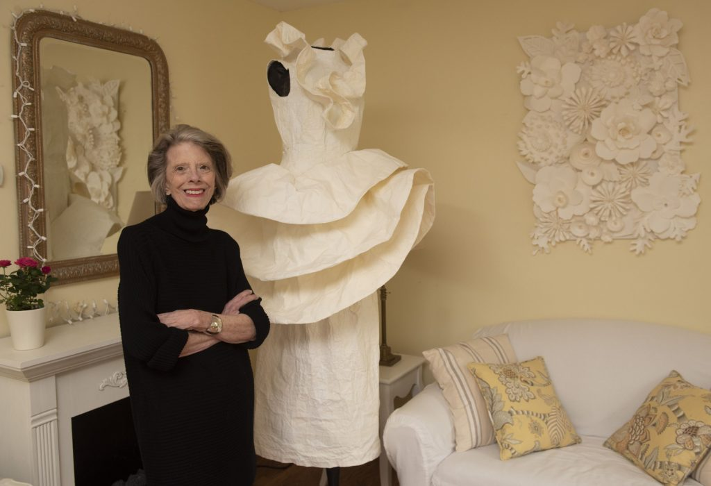 Marguerite Belkin at her home in Easthampton where she creates her art work made from paper. The pieces for the show, called Phenomenal Women, were all inspired by pioneering women who were as Belkin describes them tough or tenacious in their fields. The show will be at Click on Market street in Northampton from Oct 7 2019 to Jan 3 2020.  Inspired by Zaha Hadid, called Queen of the Curve.