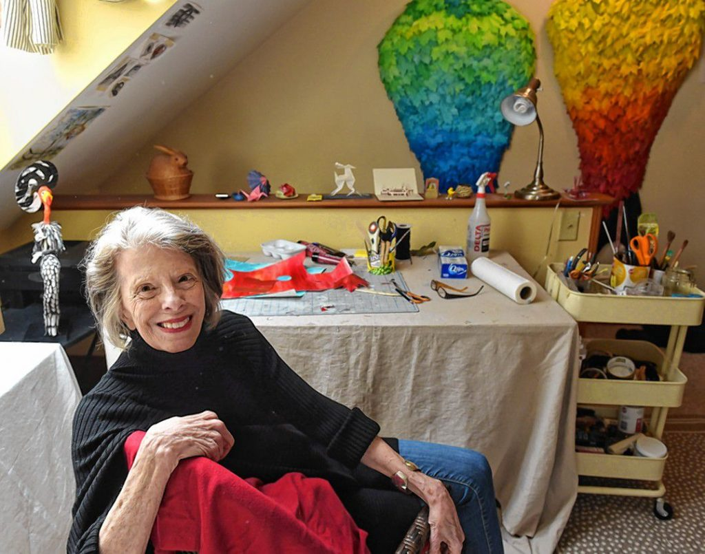 Marguerite Belkin at her home in Easthampton where she creates her art work made from paper. The pieces for the show, called Phenomenal Women, were all inspired by pioneering women who were as Belkin describes them tough or tenacious in their fields. The show will be at Click on Market street in Northampton from Oct 7 2019 to Jan 3 2020.