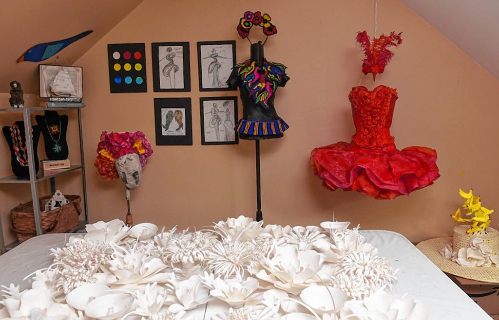 Art work created by  Marguerite Belkin at her home in Easthampton.  Belkin creates her art work  from paper and  the pieces for the show, called Phenomenal Women, were all inspired by pioneering women who were as Belkin describes them tough or tenacious in their fields. The show will be at Click on Market street in Northampton from Oct 7 2019 to Jan 3 2020.