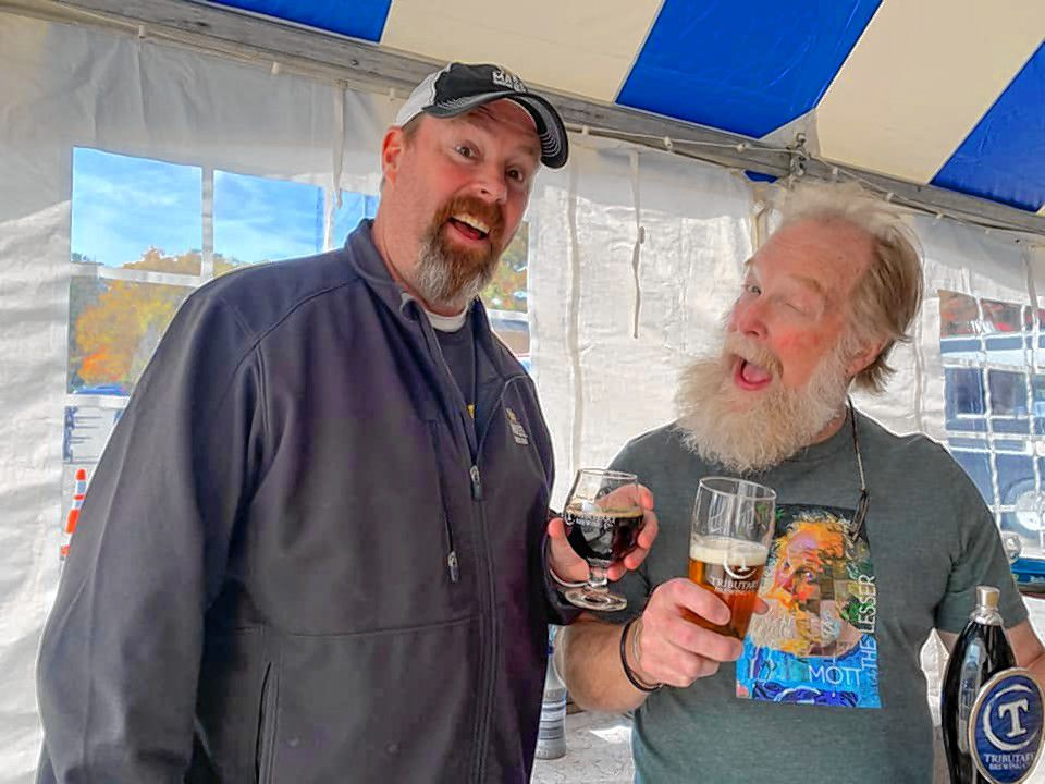 Bob Kelley (left) with Tod Mott from Tributary Brewing Company in Kittery, Maine.